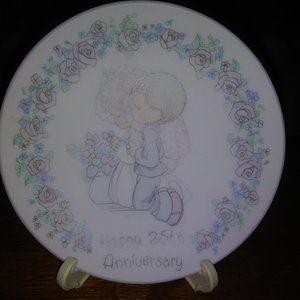 """Precious Moments 4"""" Plate - """"Happy 25th Anniversar"""